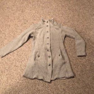 Kuhl light gray button down long walking jacket S